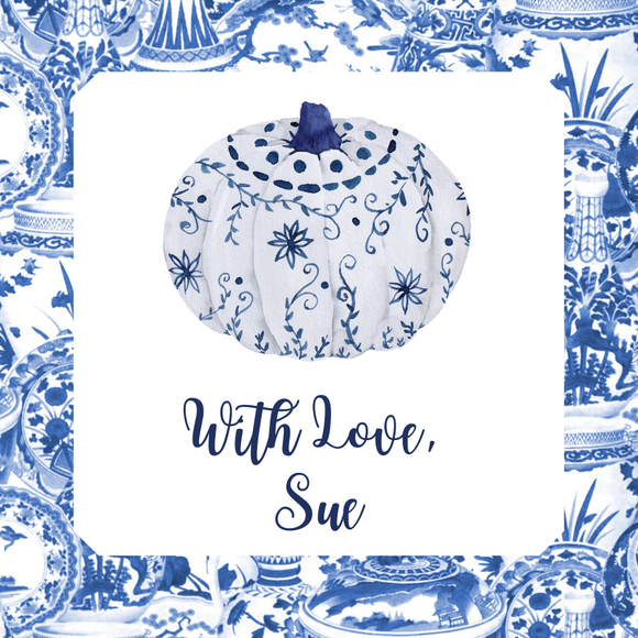 Happy Fall Gift Tag | Chinoiserie Pumpkin Toile