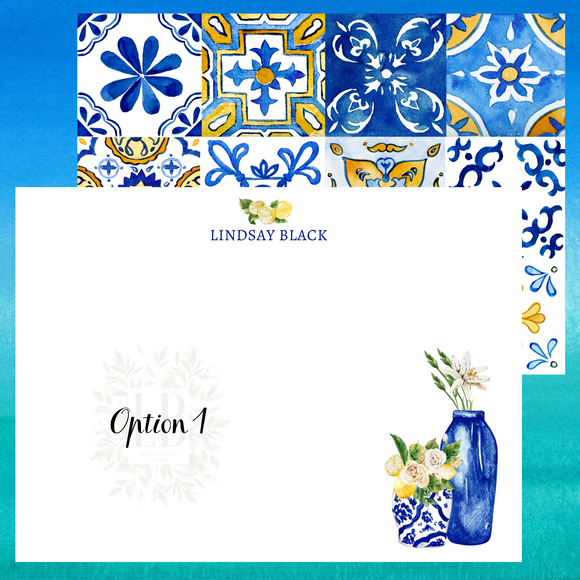 Mediterranean Note Card Set of 10 | Italian Vases