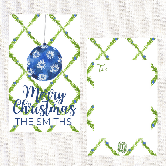 Blue and White Ornament Holiday Gift Tag | Blue