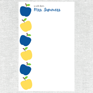 Blue and Yellow Apples Teacher Notepad