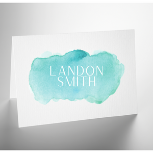 Personalized Folded Note Card | Watercolor Oceans