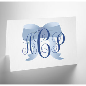 Personalized Folded Note Card | Blue Bow