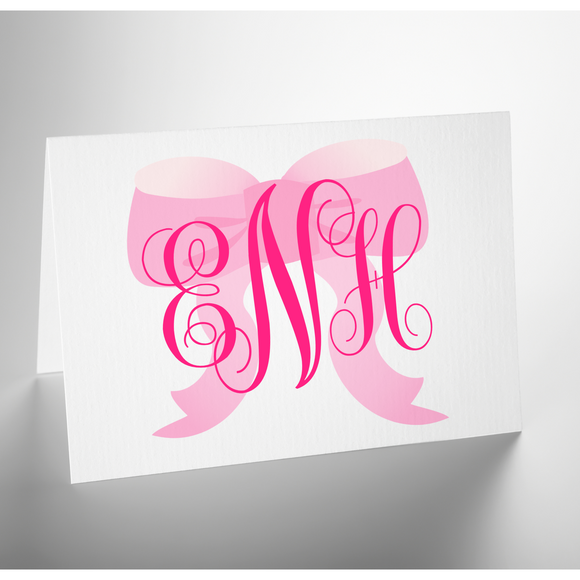 Personalized Folded Note Card | Pink Bow