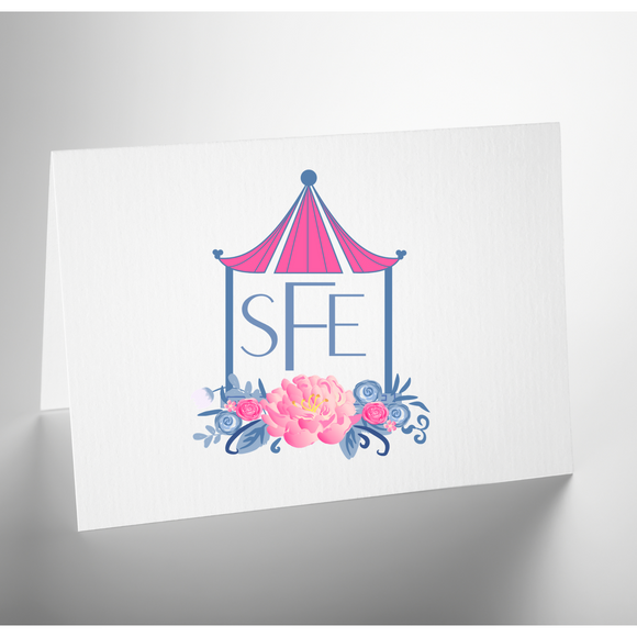 Personalized Folded Note Card | Pink Pagoda