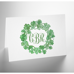 Personalized Folded Note Card | Lucky Shamrock Wreath