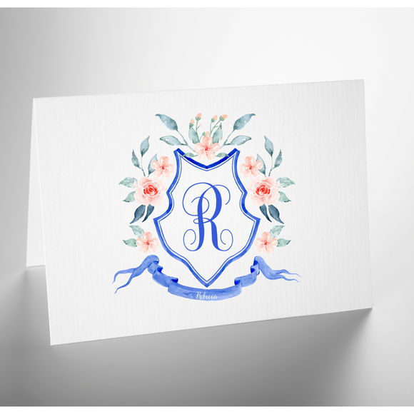 Personalized Folded Note Card | Monogram Crest Cobalt