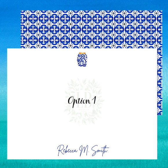 Mediterranean Note Card Set of 10 | Italian Blue and White