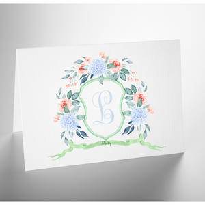 Personalized Folded Note Card | Monogram Crest Blue Hydrangea