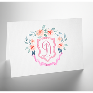 Personalized Folded Note Card | Monogram Crest Pink