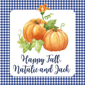 Happy Fall Gift Tag | Pumpkins with Blue Gigham