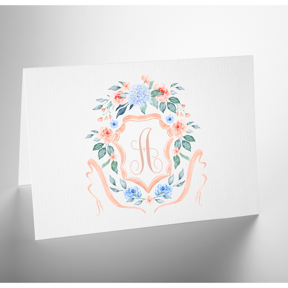 Personalized Folded Note Card | Monogram Crest Peach