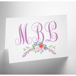 Personalized Folded Note Card | Purple Garden Swag