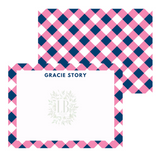 Personalized Gingham Note Card Set | 12 Colors