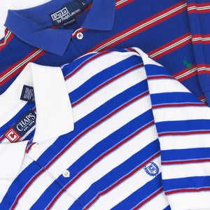 Striped Polo by Ralph Lauren Blue/Red - L