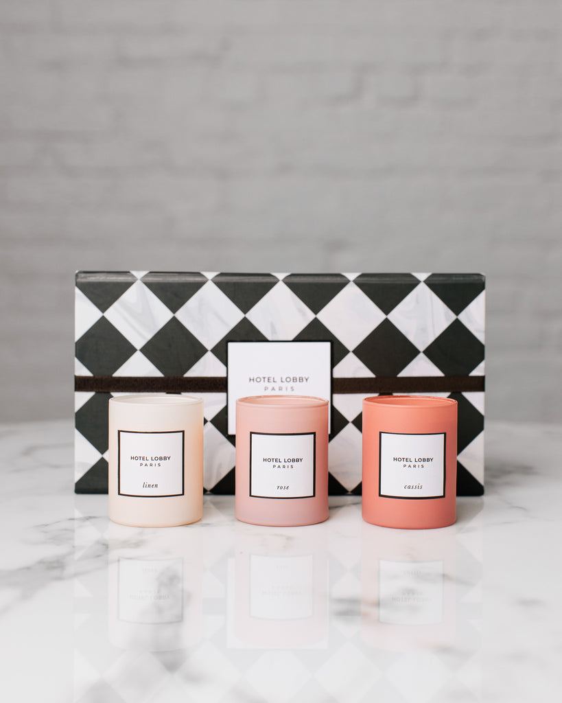 hotel lobby candle paris votive trio with box