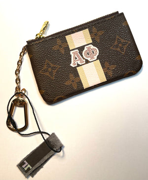 LV Damier Monogram Pouch with Sorority Monogram Wallet