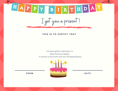 gift certificate for subscription - birthday