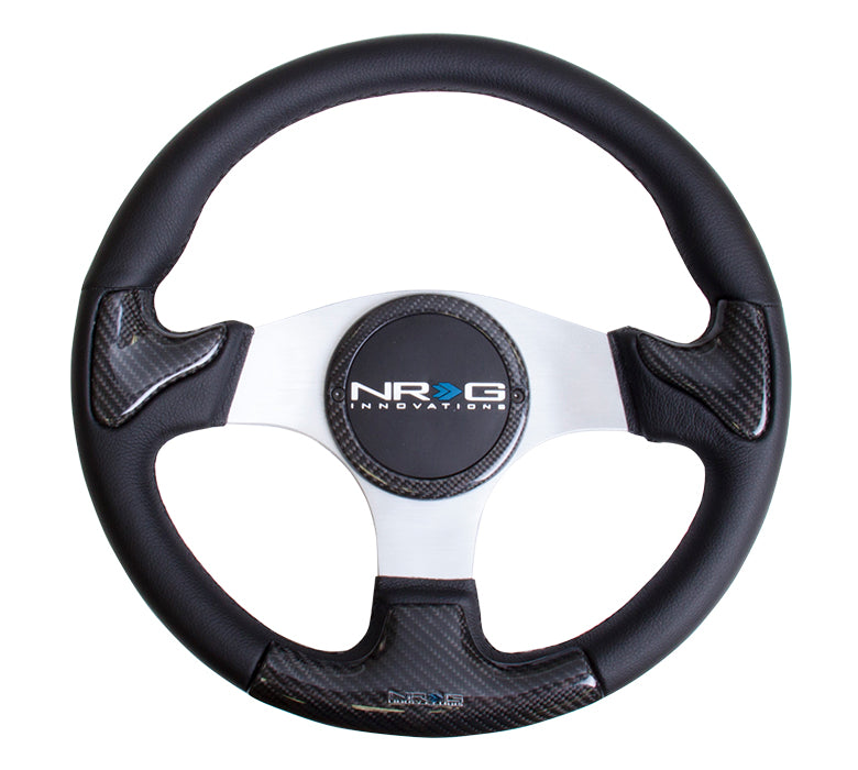 CARBON FIBER STEERING WHEEL 350MM RUBBER HORN