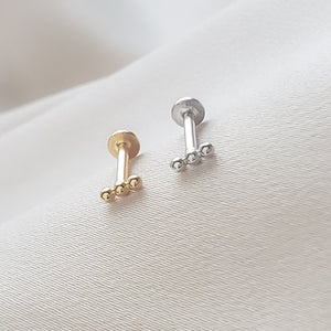 Three Bead Flat Back Stud in 14k Gold