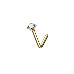 CZ Diamond L-Bend Nose Stud