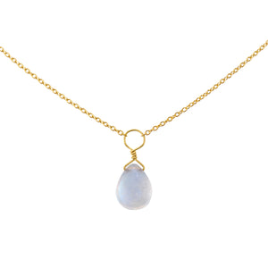 Tiny Rainbow Moonstone Drop Necklace