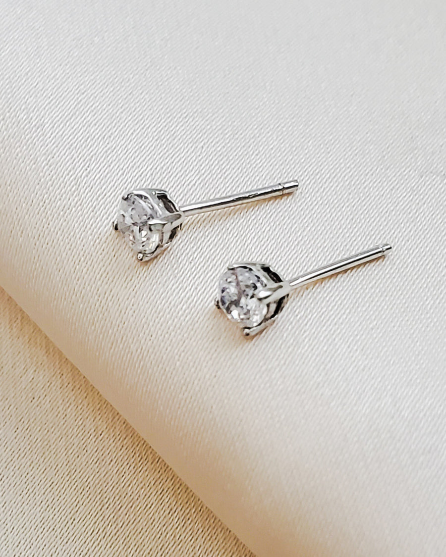 Classic CZ Diamond Studs in 14k Gold
