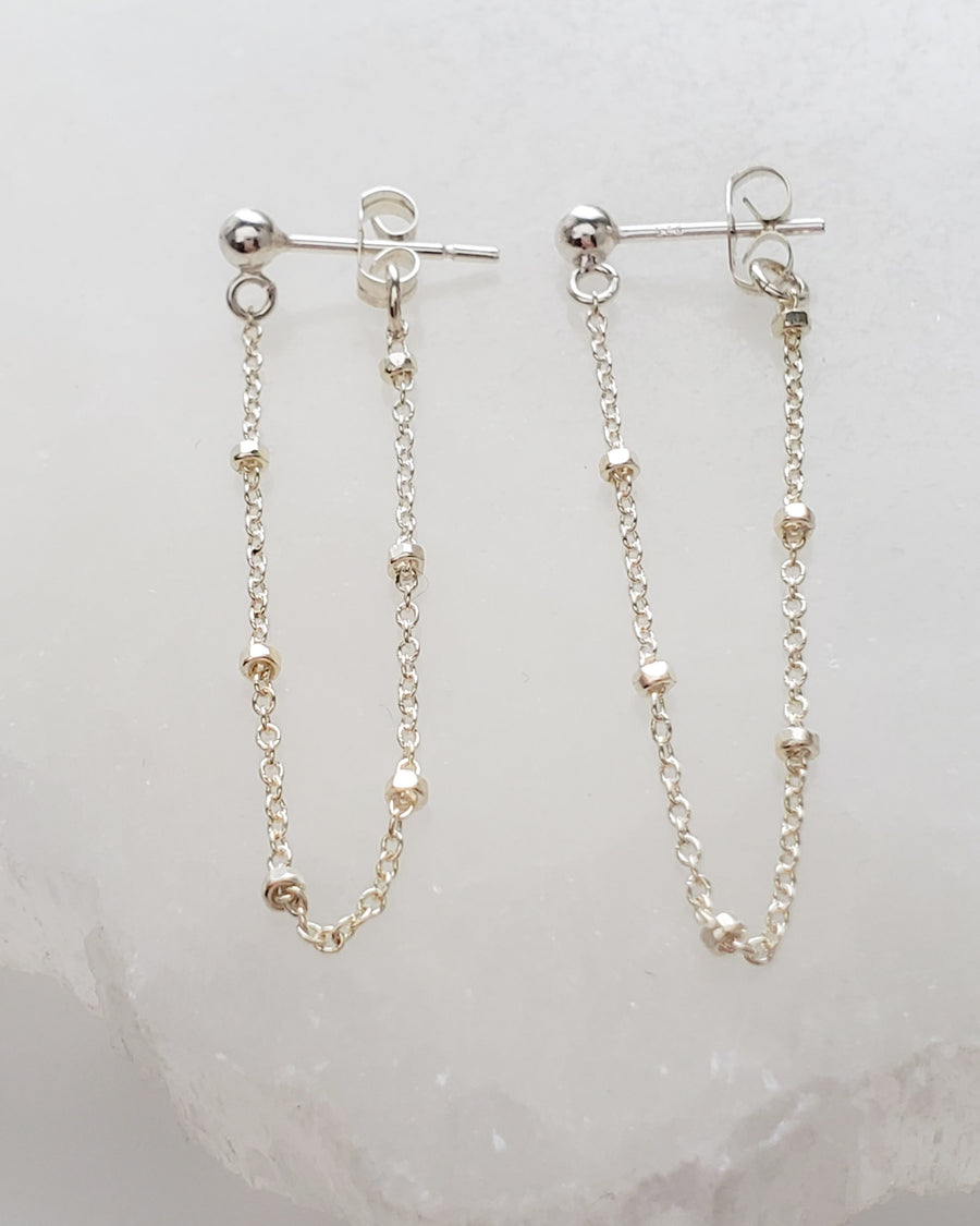 Dotted Chain Stud Earrings