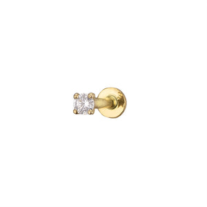 Diamond CZ Flat Back Stud in 14k Gold