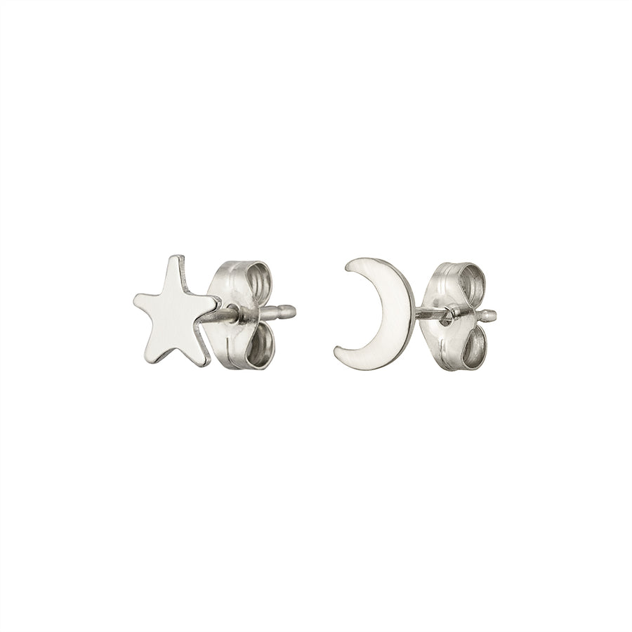 Crescent Moon & Star Studs