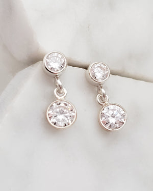 Double Diamond CZ Drop Earrings