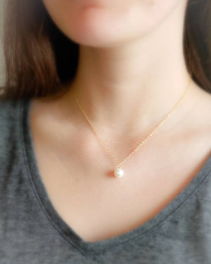 Single Pearl Drop Necklace
