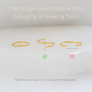 how to open your hoops without damaging them, a graphic