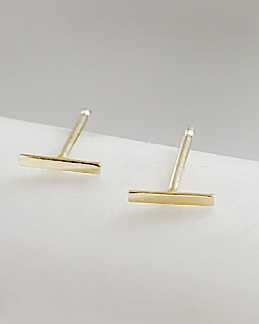 Tiny Bar Studs in 14K Gold