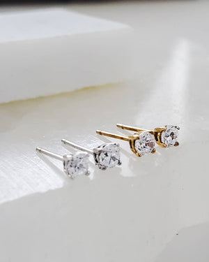 Diamond CZ Studs in 14K Gold