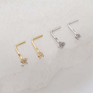 Diamond CZ Nose Stud in 14K Gold