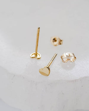 Tiny Heart Studs in 14k Gold