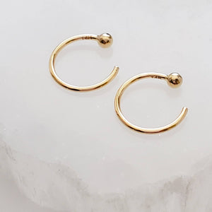Yellow gold open hoops with 2mm ball beads on white background