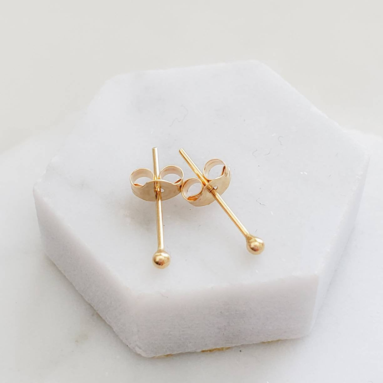 Super Tiny Ball Studs in 10K Gold