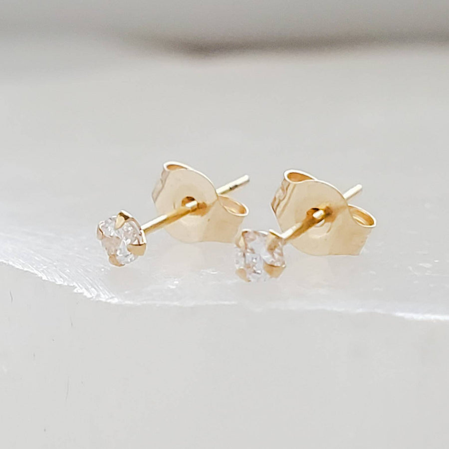 Super Tiny Diamond CZ Studs in 14k Gold