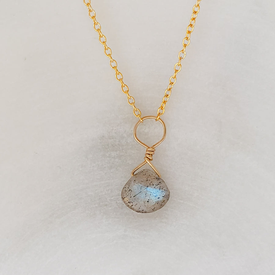 Tiny Labradorite Drop Necklace