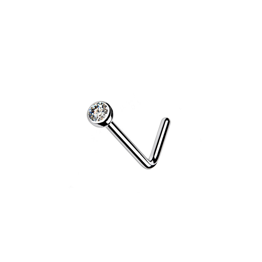 CZ Diamond L-Bend Nose stud in Titanium