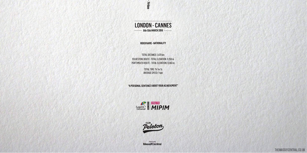 CYCLE TO MIPIM 2018 - London - Cannes-Personalised Print-MassifCentral