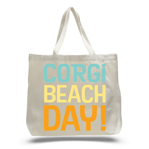 Corgi Beach Day Tiki Tote