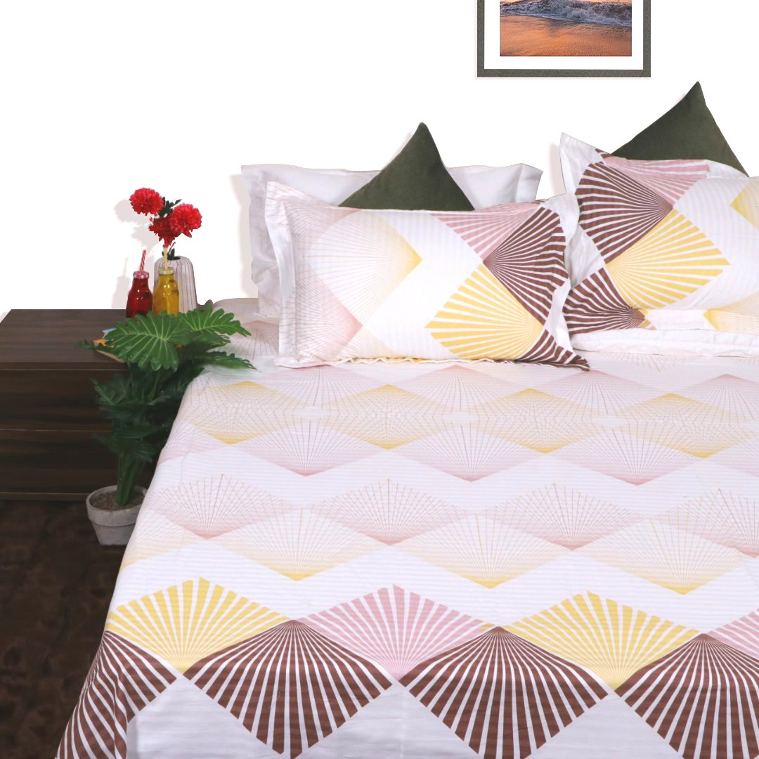 Yellow Diamond King Size 108x108 inches bedsheet with 2 pillow covers - Yellow