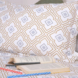 Blue abstract cotton bed sheet king size 108x108 inches - brown