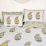 Guldasta Hand Block Print Bedsheet King Size with Reversible Pillow Covers