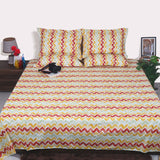 Yellow Abstract cotton bed sheet king size 108x108 inches - Red , Sage Green