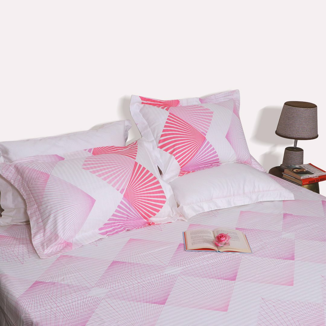 Pink Diamond King Size 108x108 inches bedsheet with 2 pillow covers - Pink
