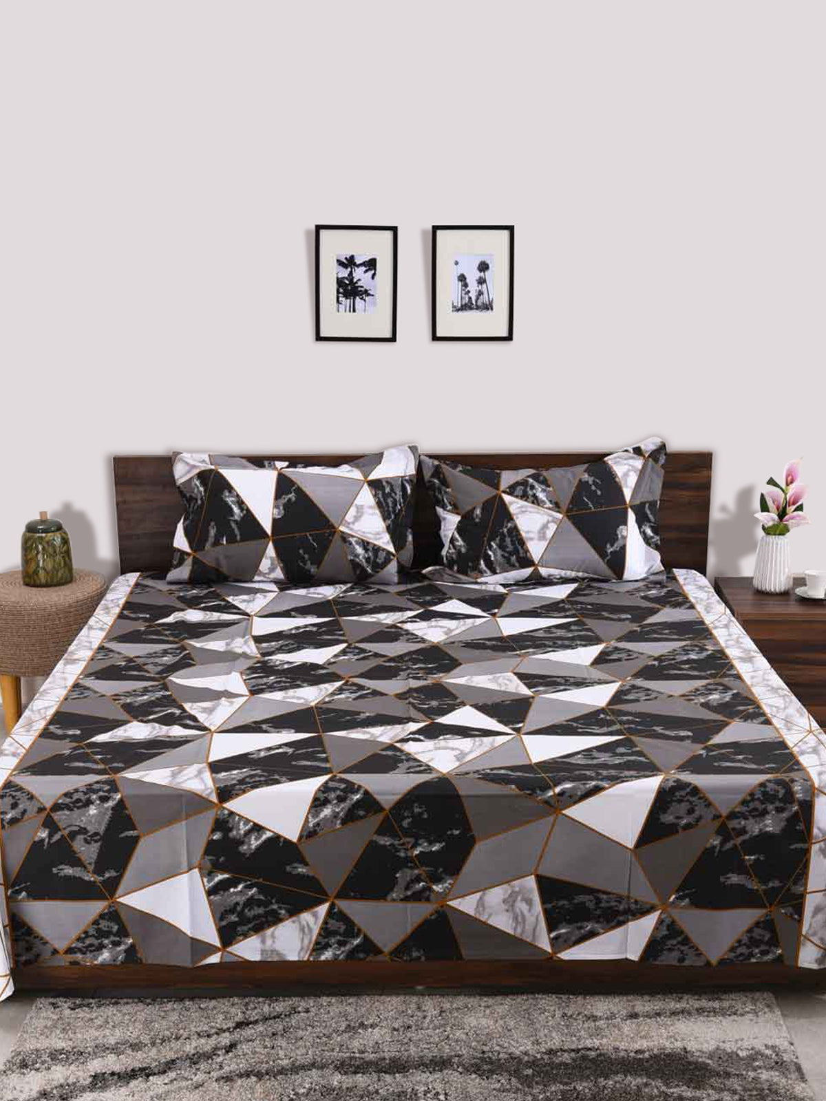 Black geometric cotton bed sheet double bed size 90x100inches - grey, white
