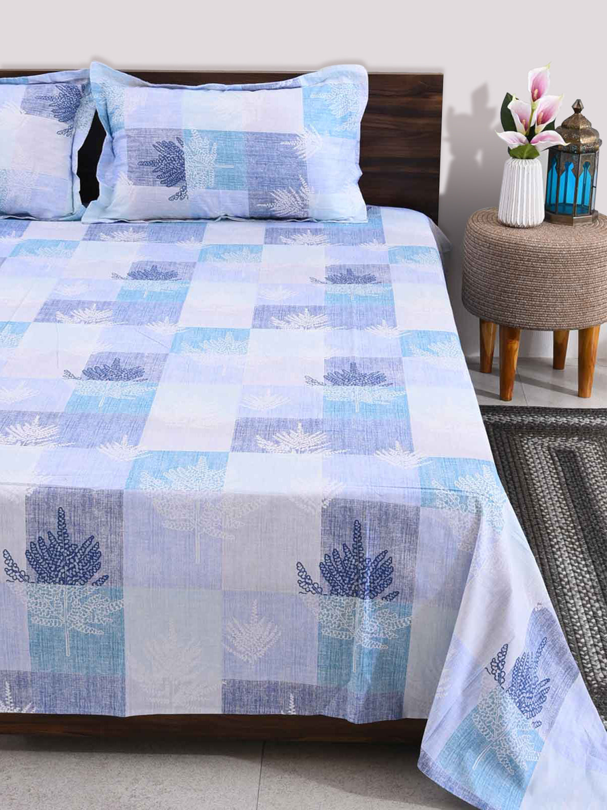 Tree Of Life 100% Cotton Blue King Size Bedsheet - 3 piece set
